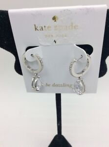 $58 KateSpade SILVER tone SAVE THE DAY Huggie hoop  stone earrings z38