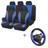 Universal Car Seat Covers & Steering Wheel Cover Blue Black Polyester For Toyota