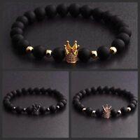 Gorgeous Crown Natural Stone Black Matte Charm Men's CZ Copper Bead Bracelet