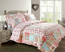 Pink Patchwork Shabby Chic Vintage Quilted Bedspread Throw Over Comforter Set Double