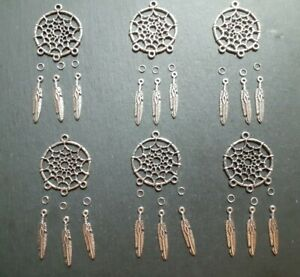 6 x Dream Catcher Pendant Charms, Keyring Charms, Jewellery Making, UK Seller