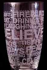 St. Nicholas Square Frosted Words Holiday Phrases Tall Glass Tumbler 16oz NEW