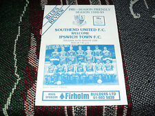 1988 FOOTBALL PROGRAMME - SOUTHEND UNITED v IPSWICH TOWN - PRE SEASON FRIENDLY