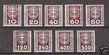Danzig Mi 1b-12b MLH. 1921 Postage Dues, 9 different, Scarce