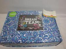 New Beco Home Dream Team Twin Sheet Set ~  Aqua Blue White Flower Raindrop NIP