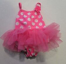 NWT Pink w/ White Polka Dots Tutu Swimsuit Baby Infant Girls 3-6  M