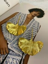 Latoir Fashion Blogger Textured Gold Ginko Leaf Minimalist Statement Earrings BN