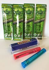 "4 PKS JUICY Flavored HEMP WRAPS - ""NATURAL""+CIGAR ROLLER+ STORAGE TUBES"