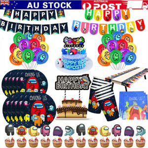 Among Us Game Birthday Party Supplies Set Banner Cake Toppers Balloons Decor AU