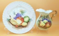 Matching Lefton Handpainted Fruit Pitcher & Plate Gold Accents