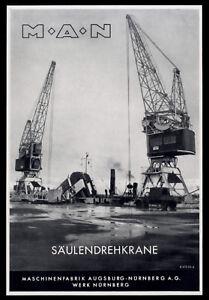 Grosse Werbung 1953 MAN M.A.N. Säulendrehkrane Maschinenfabrik Werk Nürnberg