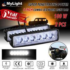 2PCS 6 INCH LED Work Light Bar Flood Spot Lamp Offroad Driving Fog 4WD SUV Truck