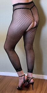 Lace Leggings Eyelet Pattern Fishnet Crotchless Hosiery Regular Size Black