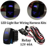 Waterproof LED LIGHT BAR Rocker Switch Blue LED Backlit Relay Wiring Harness Kit