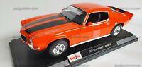 NEW MAISTO 1:18 Diecast Model Car Special Edition 1971 Chevrolet Camaro Orange
