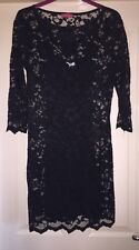 John Zack Black Lace Overlay Dress With Separate Inner Dress, Size 10 - Fab!
