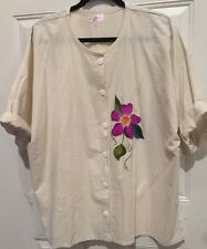 """VTG Luisa Mexico Women's Hand Painted Clothing  Cotton Shirt Size XL Chest 52"""""""