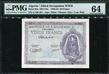Algeria 1942-1945, 20 Francs,G750-391, P92a, Pmg 64 Original Unc
