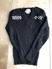 "Obsolete Nato Female Jumper Black Epaulettes Security Police 36"" 100%Wool"