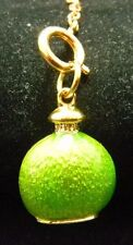 Joan Rivers Gold Tone Green Enamel Perfume Bottle Charm W Extender Exc Cond