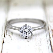 0.75 CT Classic Round Solitaire Swarovski Diamond Engagement Ring 14k White Gold