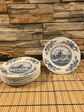 8 Johnson Bros Brothers TULIP TIME Bread & Butter Plates White Blue Ironstone