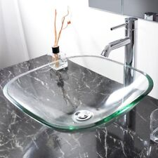 Tempered Glass Bathroom Vessel Sink Washroom Natural Clear Vanity Hotel Basin