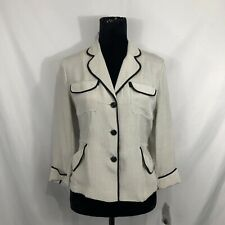 Jones New York NWOT Womens Size 4 White Black Polka Dot Silk Pajama Sleep Top