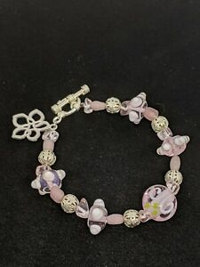 Artisan Silver Tone Pink Glass Lampwork Bead Toggle Bracelet