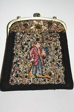 Antique Victorian Micro Beaded Brass Floral Design Male Figure