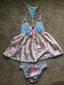 NWOT! Victoria's Secret Vintage Floral Satin Cami Ruffle Panty Lace Trim Set S