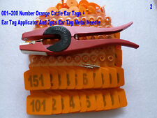 001--200 Number Orange Cattle Ear Tags + ear tag forcep