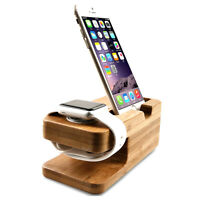 Desktop Wood Charger Charging Dock Stand Holder Mount For Apple Watch iPhone