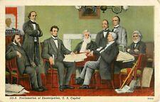 1940 Abraham Lincoln Signing The Emancipation Proclamation Postcard