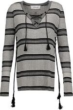 NWT 10 Crosby by Derek Lam women's lace-up metallic striped silk blend sweater