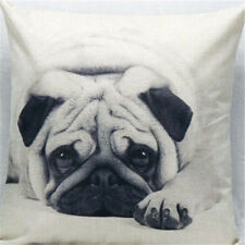 Vintage Cotton pug Linen Pillow Case Sofa Waist Throw Cushion Cover Home Decor B