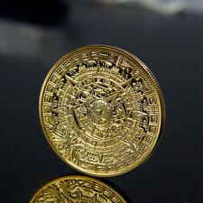 Gold Plated Aztec Mayan Calendar Commemorative Coin Collectible Collection DE