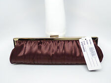 NEW Satin Baguette Evening Clutch Purse Brown, Ivory or Bisque Wedding Formal
