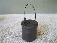 Antique Berry Bucket Tin Pail Small 1/2 Pint Vintage Primitive Lid & Bail Handle