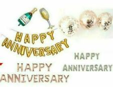 HAPPY ANNIVERSARY Foil balloons champagne bottle glass baloons latex ballons UK