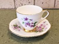 England TEACUP & SAUCER SET Taylor & Kent Small Purple White Flowers Scalloped