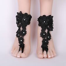 Crochet Lace Beach Short Foot Chain Barefoot Lace Up Sandal Anklet Wedding Shoes