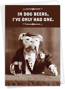 Dog Beers - Hysterical Birthday Note Card with Envelope 4.63 x 6.75 Inch - Funny