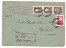1950 Krakow Poland, Registered Commercial to Katorcie, GROSZY