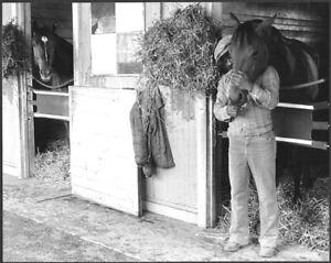 SECRETARIAT, RIVA RIDGE, EDDIE SWEAT - ORIGINAL 1973 HORSE RACING PHOTO IN BARN!