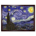Vincent Van Gogh Starry Night Old Master Painting 12X16 Inch Framed Art Print