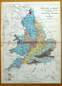ENGLAND & WALES GEOLOGICAL MAP  J.Reynolds Original Antique Map c1880