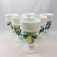 6 Westmoreland Beaded Milk Glass Footed Goblets w/ Fruit Designs