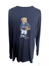 NWT Polo Ralph Lauren Mens Basketball Bear Blue Long Sleeve Shirt