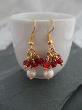 Yellow Gold Natural Pearl Costume Earrings